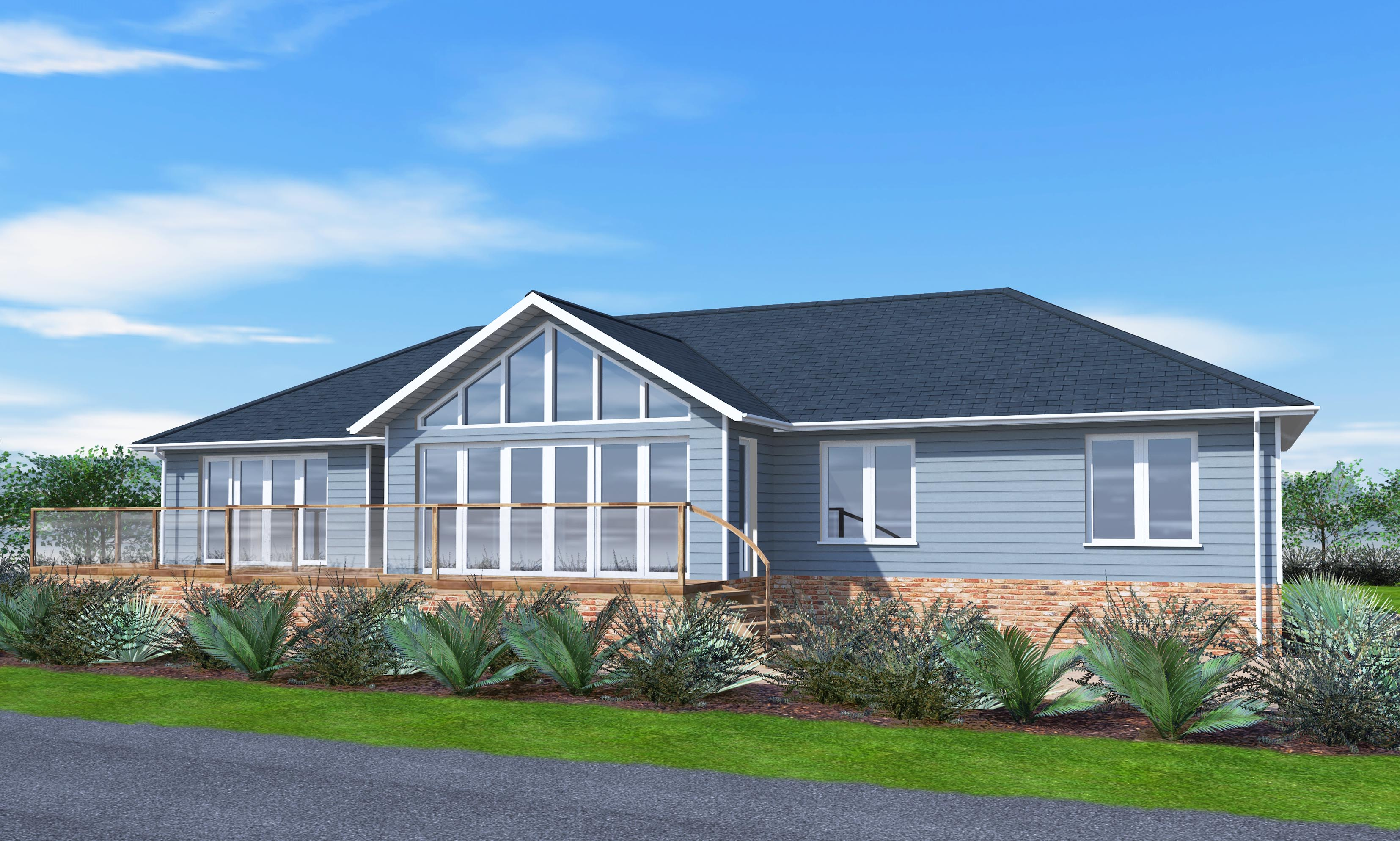 sea view timber frame bungalow design scandia hus. Black Bedroom Furniture Sets. Home Design Ideas